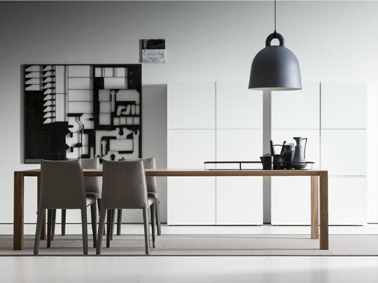 mesa madera comedor decoracion pared negra ideas