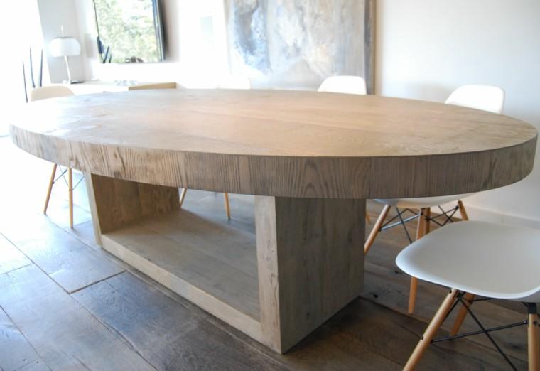 mesa madera comedor forma ovalada gruesa ideas