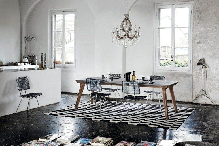 mesa madera comedor forma rectangula sillas acero ideas