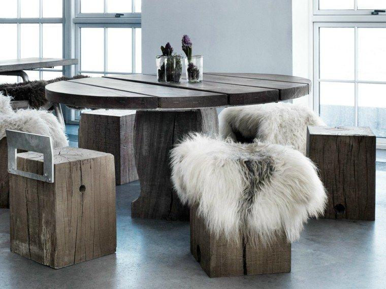 mesa madera comedor forma redonda taburetes ideas