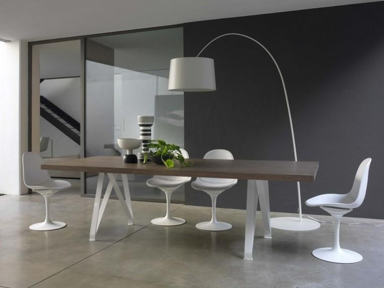 mesa madera comedor jarrones decorativos sillas blancas ideas