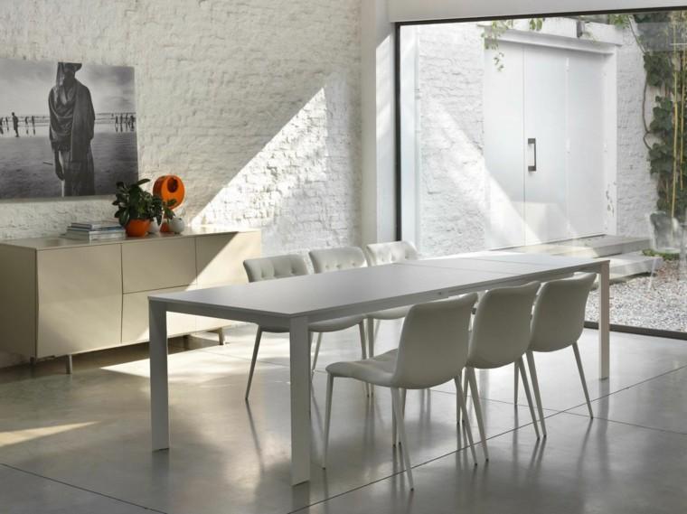 mesa madera comedor luminoso pared ladrillo ideas