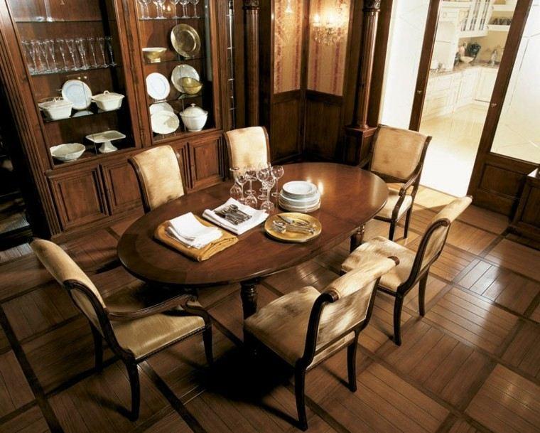 mesa madera comedor moderno forma ovalada ideas
