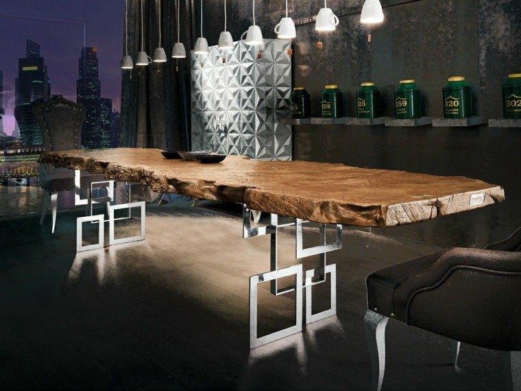 mesa madera comedor pies acero brillante ideas