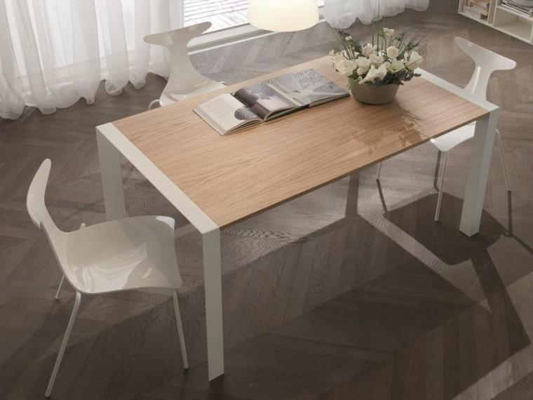 Mesas comedor ideas de madera elegancia y estabilidad for Sillas comedor plastico