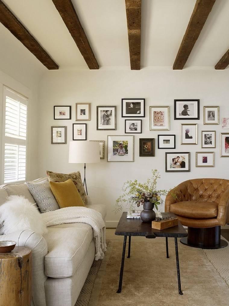 mesa madera sillone cuero sofa blanca salon rustico ideas