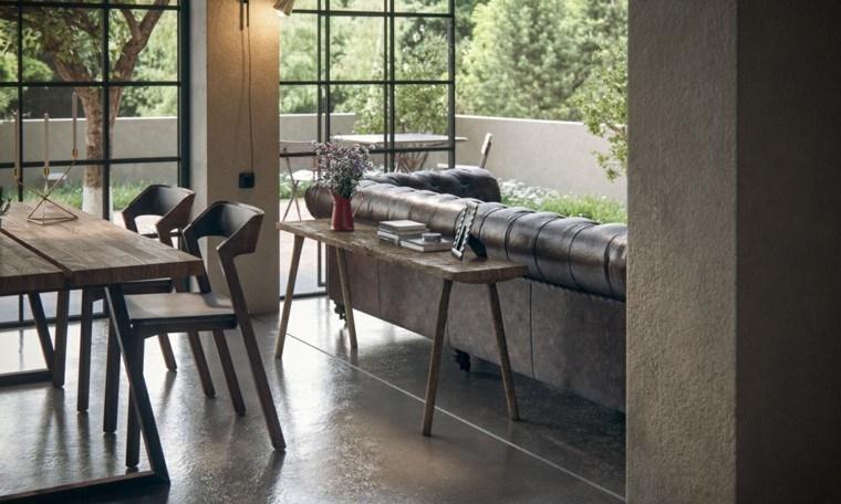 mesa madera vistas jardin sofa
