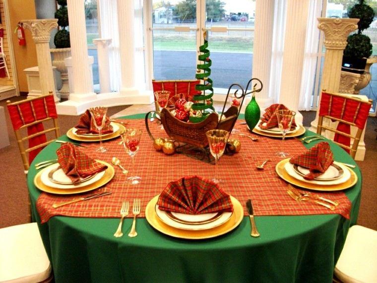 mesa navideña mantel color verde