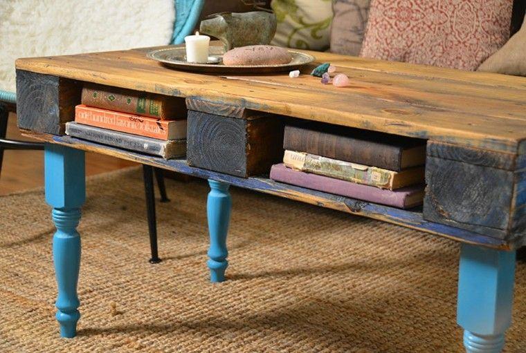 mesa pallet madera patas azules