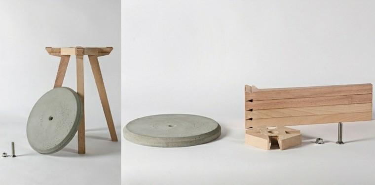 mesa patas madera superficie cemento