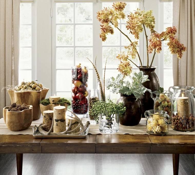 mesa preciosa frutas hojas secas arbol decorativas ideas