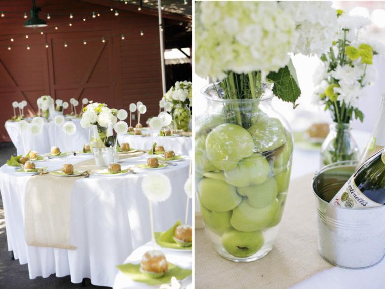 mesas boda manzanas verdes