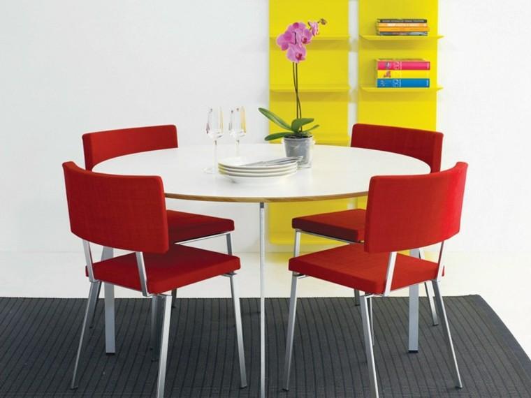 mesas comedor madera colores vibrantes ideas