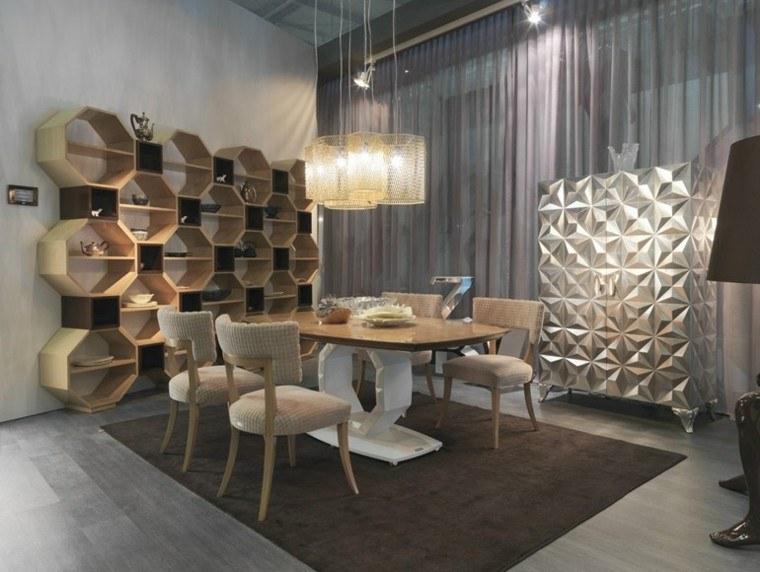 mesas comedor madera elegantes Tiziano Bizzotto estantes preciosos ideas