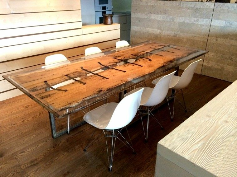 Mesas comedor ideas de madera elegancia y estabilidad for Mesa comedor cristal y madera