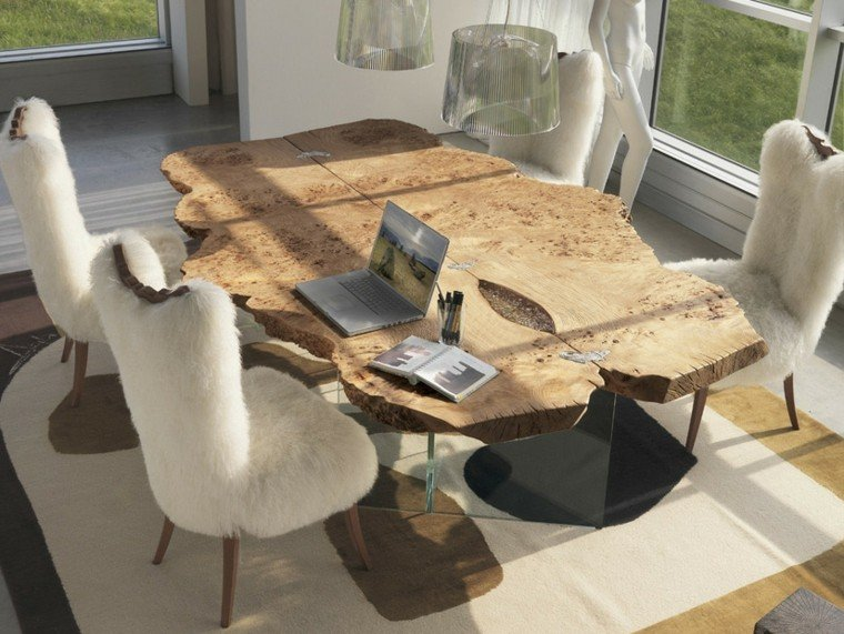 mesas comedor madera elegantes forma interesante ideas