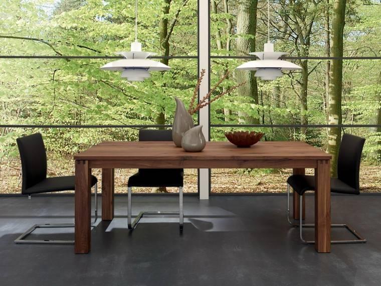 mesas comedor madera elegantes jarrones decorativos ideas