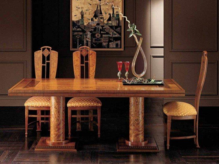 mesas comedor madera elegantes lacada brillante ideas