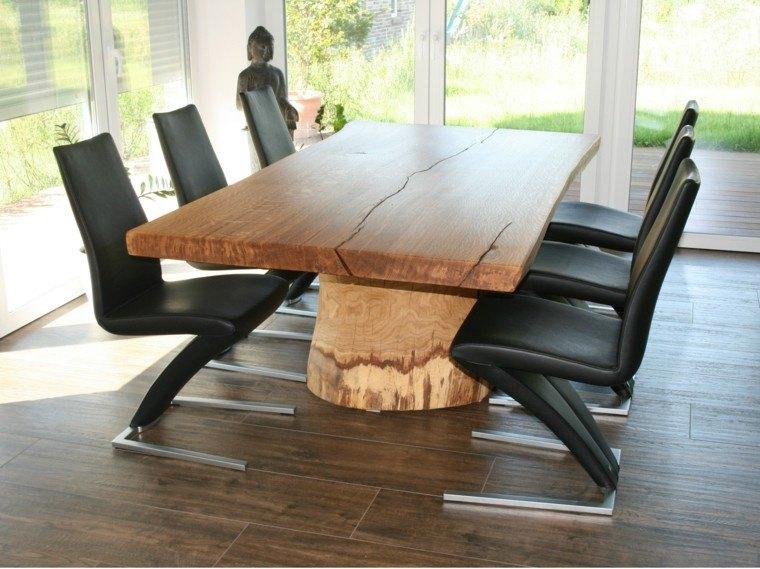 mesas madera elegantes natural sillas negras ideas
