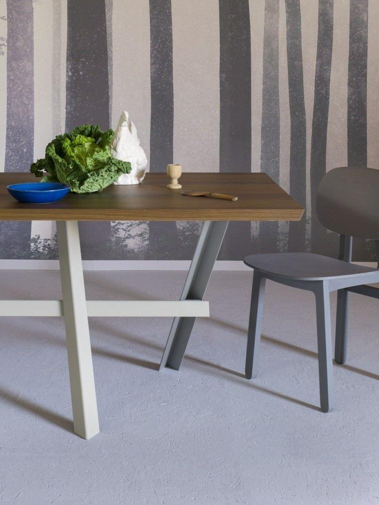 mesa comedor madera elegantes pies blancos acero ideas