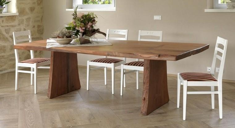 mesas comedor madera elegantes sillas blancas ideas - Mesas De Comedor Madera