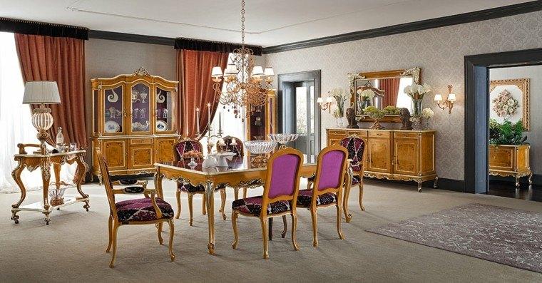 mesas comedor madera elegantes sillas purpura ideas