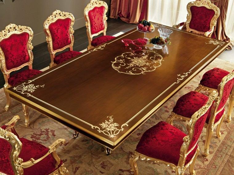 mesas comedor madera elegantes sillas rojas ideas