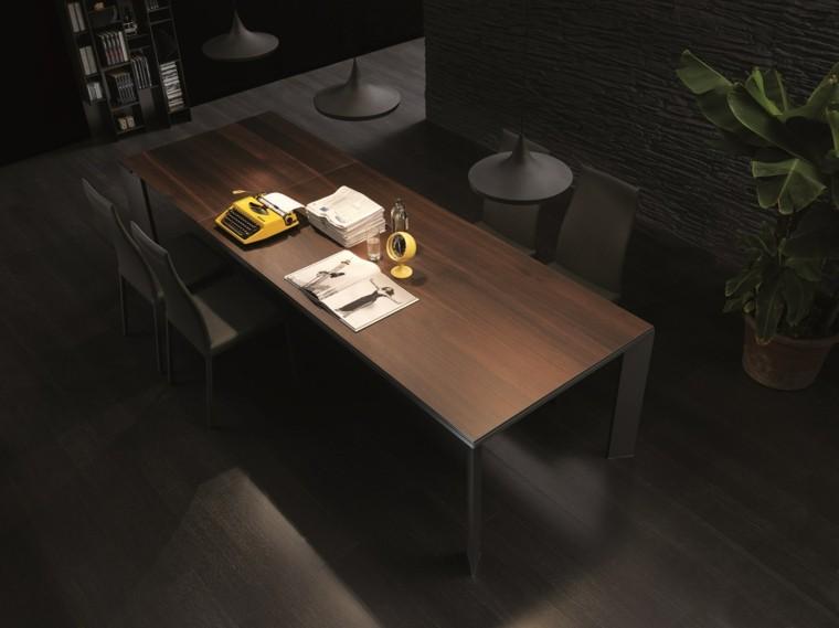 mesas comedor madera elegantes suelo negro ideas