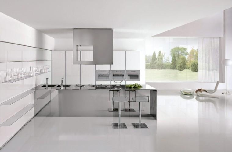 Dise o cocinas blancas y modernidad en 50 ideas for Cocinas blancas 2016