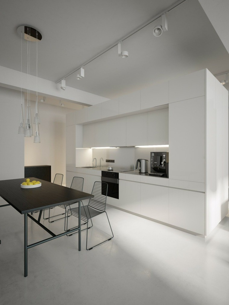 moderna cocina mesa oscura metales