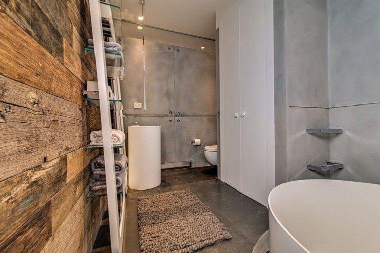 baños rusticos diseño paredes madera