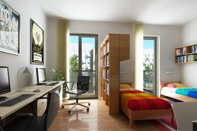 moderno dormitorio colorido cuadros contemporaneo