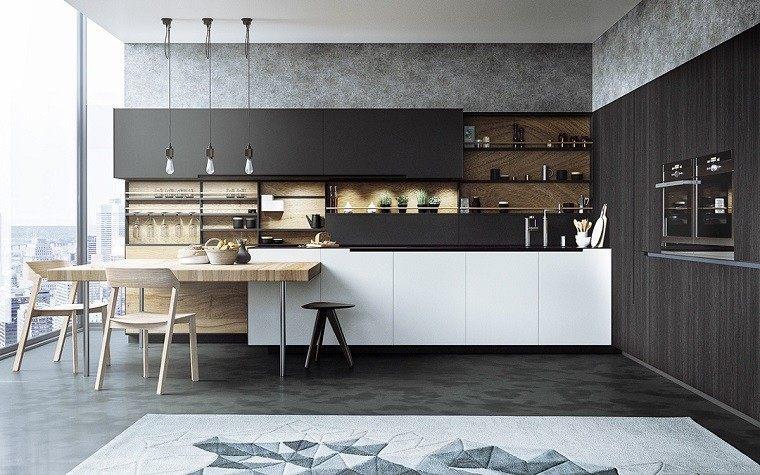 moderno elegante cocina barra comidas pared hormigon ideas