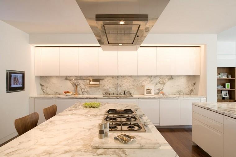 moderno elegante cocina encimera marmol armarios blancos ideas