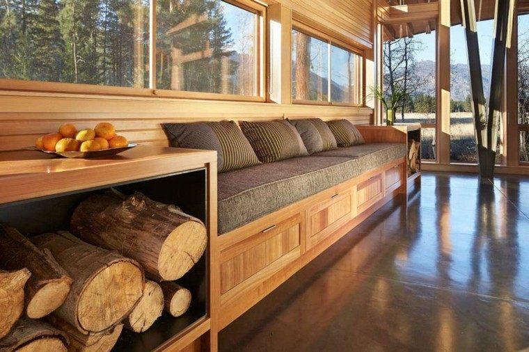 Leña decoracion y almacenamiento, funcionalidad elegante.