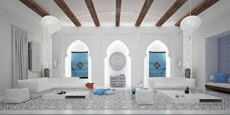 mosaico blanco azul salon marroqui moderno ideas
