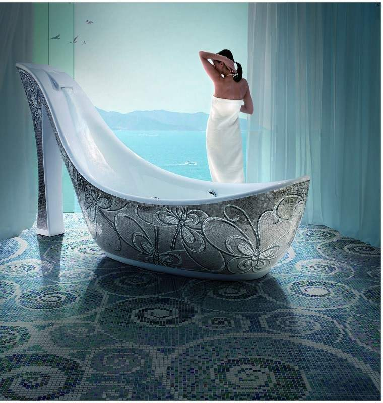 mosaico blanco azul suelo bano moderno banera original ideas