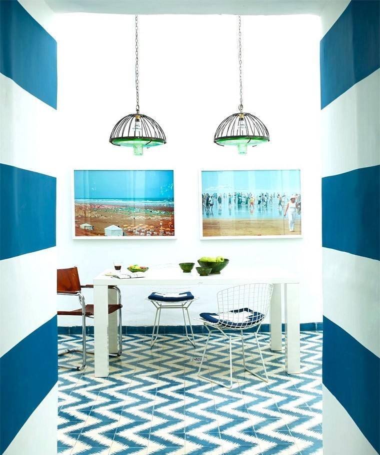 mosaico blanco azul suelo comedor moderno ideas