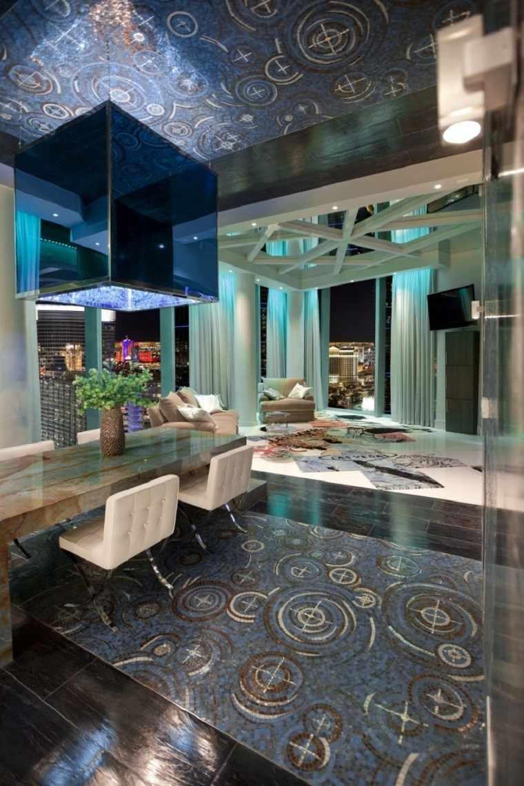 mosaico blanco azul suelo techo comedor mesa marmol ideas