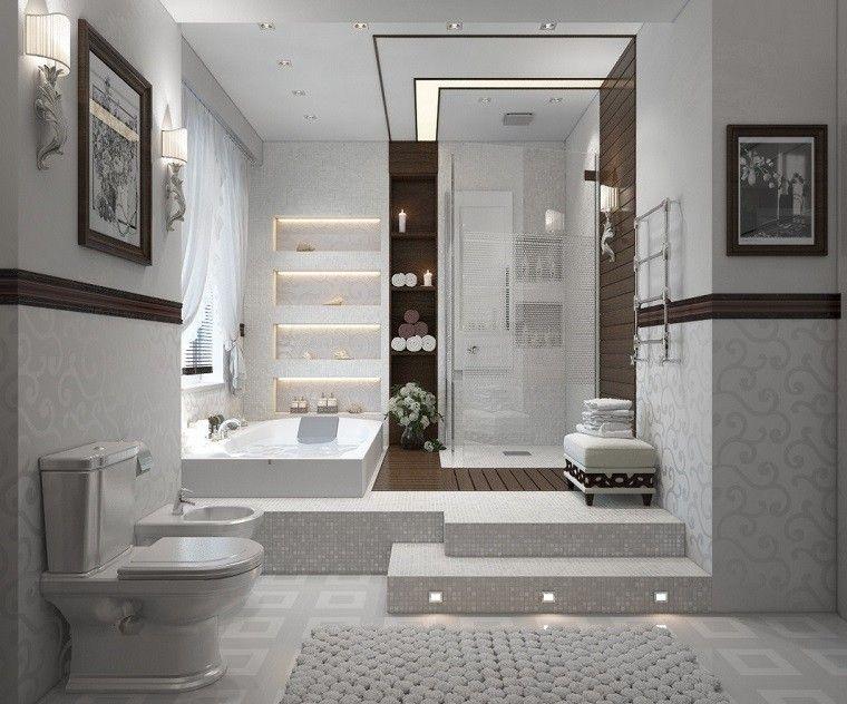 Baño Blanco Suelo Madera:mosaicos blancos en el suelo y las paredes del baño moderno