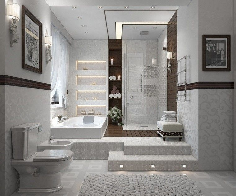 mosaico blanco bano moderno toques madera ideas