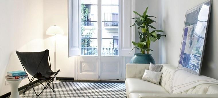 mosaico blanco negro suelo salon moderno sofa cuero ideas