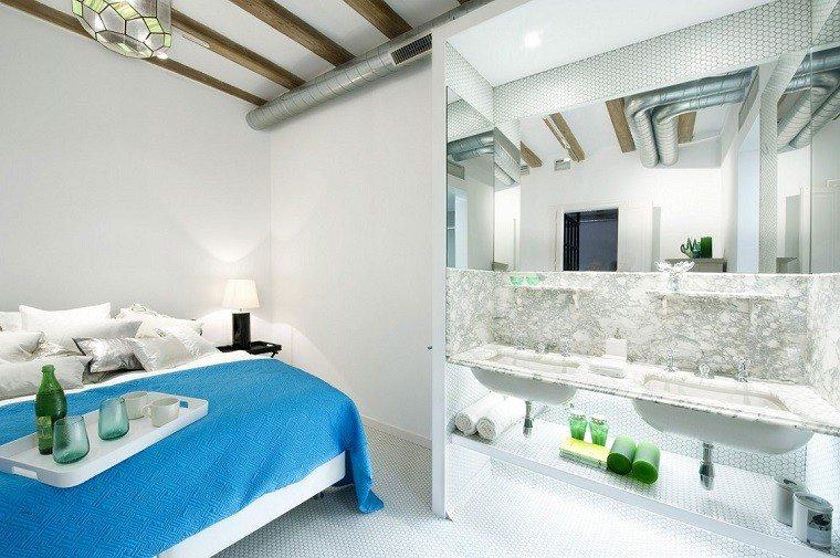 mosaico blanco precioso suelo dormitorio bano moderno ideas