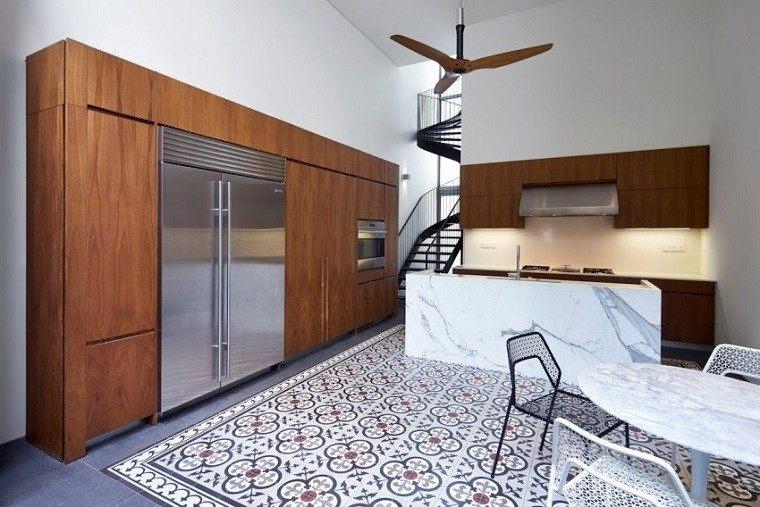 mosaico precioso suelo cocina azul oscuro blanco ideas
