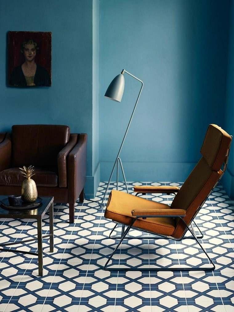 mosaico salon moderno sillon cuero ideas