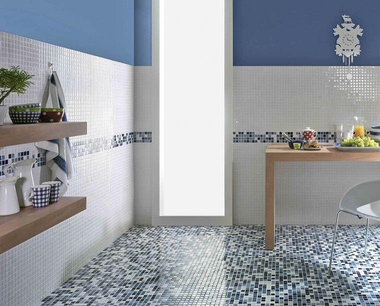mosaico suelo cocina blanco azul precioso ideas