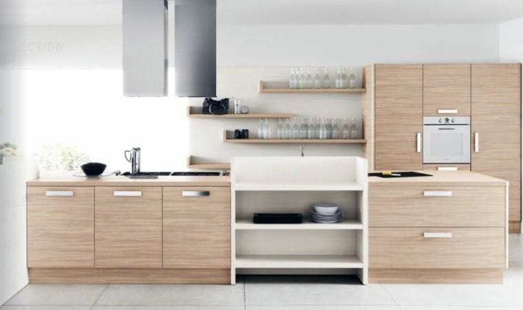 Color blanco y madera de roble para las cocinas modernas - Cocina roble ...