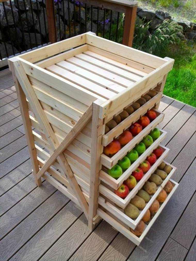 mueble almacenar frutas cajones palets