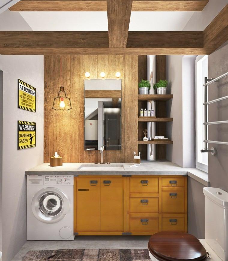 mueble amarillo techo madera lavadora