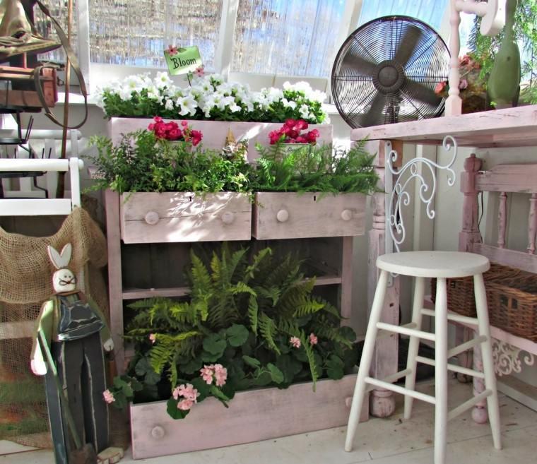mueble conejo madera diseño flores